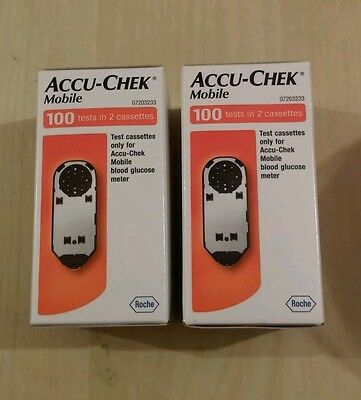 ACCU-CHEK MOBILE TEST CASSETES. 2 Boxes Total 200 Tests