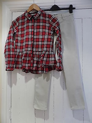 River island girls skinny jeans & next tartan check shirt size 9-10 years