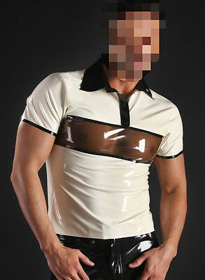 733 Latex Rubber Gummi Male short sleeves Polo T-shirt Tops Tee customized 0.4mm