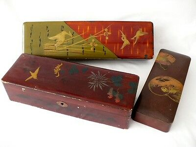 Three Oriental Japanese Laquered Glove Boxes
