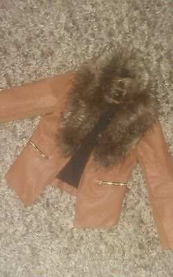 girls river island brown fur trim leather look jacket age 8 winter tan coat