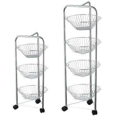 3 4 Tier Fruit Basket Kitchen Trolley Vegetable Storage Portable Stand Silver
