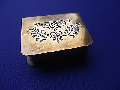 Vintage Brass Metal Safety Matches Match Box Cover Sleeve Etched Design