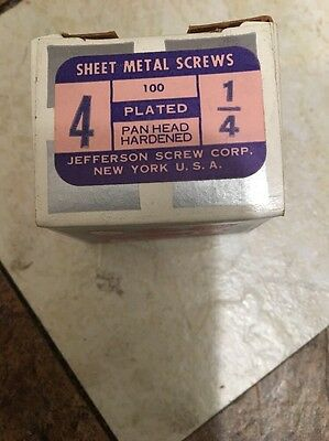 "Vintage # 4 X 1/4"" Pan Head Slotted Steel Sheet Metal Screws Box Of 100. USA"