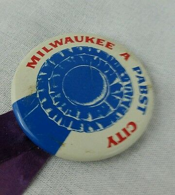 Pabst Blue Ribbon Beer Pin Back Button Vintage Milwaukee City