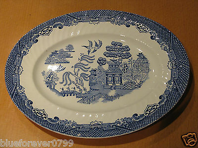 Blue & White Willow Pattern Barretts Serving Plate / Meat Platter