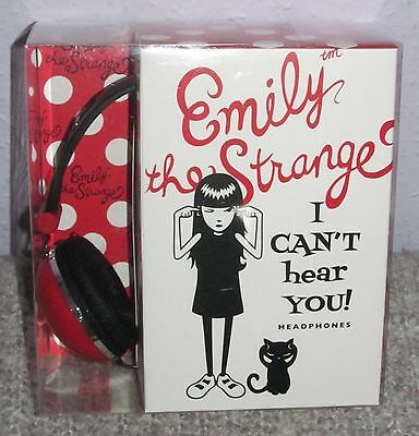"""Emily The Strange """"I Can't Hear You"""" Headphones 1.2m Cord Brand New Boxed"""