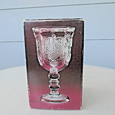 "Vintage 1978 Avon ""Heart & Diamond"" Fostoria Loving Cup Stem Water Goblet Candle"