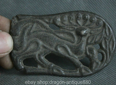 78MM Old China Antique Bronze jungle Myth Deer Sika Statue Amulet Pendant Plate