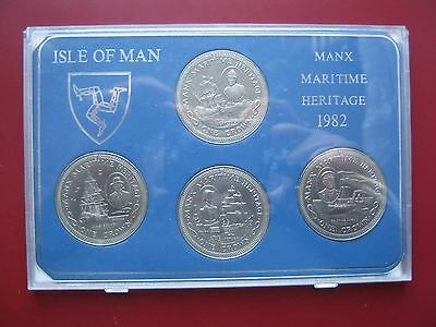 Isle of Man 1982 4 crown set Manx Maritime Heritage UNC by Pobjoy Mint cased