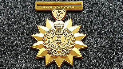 M 47 Commemorative Gold Tone For Valour  Queensland Fire & Rescue Service Medal