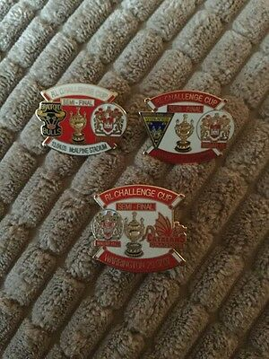 3 x Wigan RL challenge cup match day badges '03, 04 & 07.