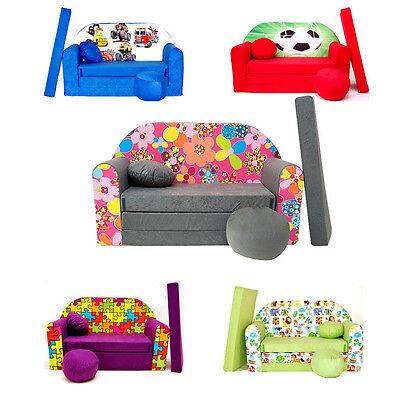 Childrens Foam Sofa Bed [ pillow and pouffs included ]  Convertible KIDS BED