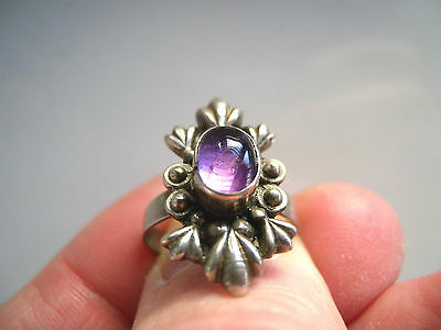 Vintage Style Solid 925 Silver Stone Set Ring Size N 1/2