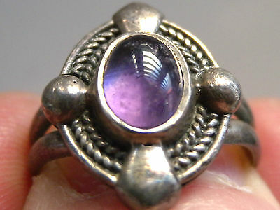 Vintage Style Solid 925 Silver Stone Set Ring Size K 1/2