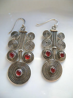 Vintage Style Solid 925 Silver Stone Set Earrings