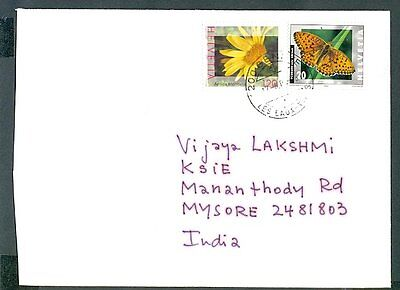 Switzerland 2005 To India 31459 Cover Arnica Montana Butterfly Yellow Flower