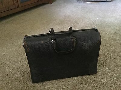 Vintage Antique Pebbled Thick Leather Doctor's Type Bag  Steampunk