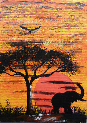 "Original ACEO Art Card ""African Sunset"" by L J Bass"