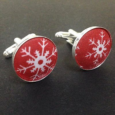 Men's Cufflinks Buttons Red Snowflakes Christmas Party Cufflinks Silver Plated