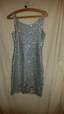 Lovely Vintage Retro ? Silver Full Sequined Sparkly Sleeveless  Dress 32 Chest