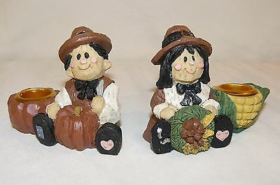 """Thanksgiving Day Pilgrim Taper Candle Holders Holiday Workshop 1997 2.5"""""""
