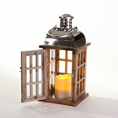 Longstone Lantern | Battery Operated | Brown | LED Pillar Candle | Hang Easily