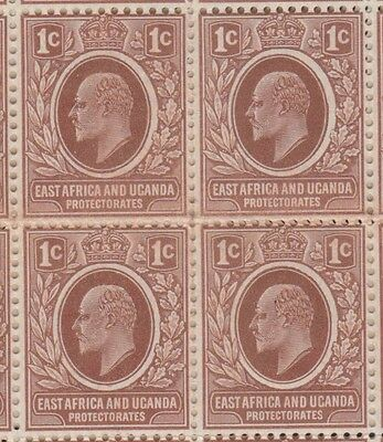 EVII 1c East Africa and Uganda Protectorate block of 4 stamps MNH