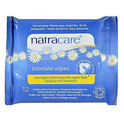 x 5 Pack Org Cotton Intimate Wipes - by NATRACARE 12s