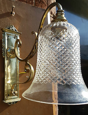 Edwardian Brass Wall Light with shade