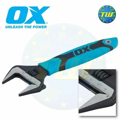 OX Tools Pro 8in Adjustable Wrench 200mm Spanner & Extra Wide 38mm Jaw P324608