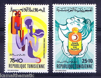 Tunesia 1974 MNH 2v, Red Cross, Donate Blood, Save Life - R1