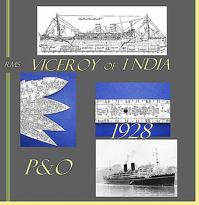 Rms VICEROY OF INDIA 1929 P&O: Superb,Complete Retractable GA Deck Plans/Profile