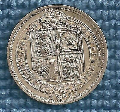 Collectors British 1887 Silver Sixpence