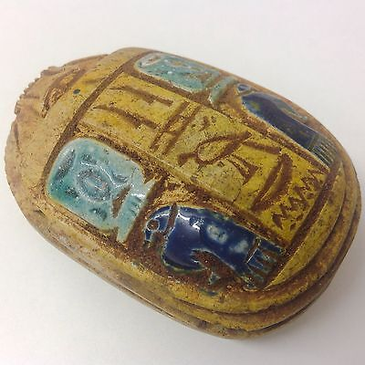 Rare Egyptian Carved Glazed Scarab Bead Seal 300 B.c. (Very Large Size)