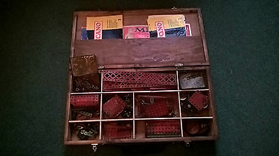 Meccano set, vintage 1940/50/possibly 60's in wooden case.