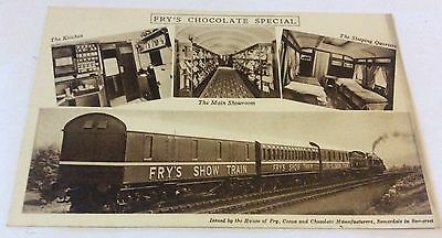 Early Printed Postcard Frys Chocolates Special Show Train.