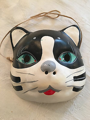 UNIQUE -- Vintage Paper Mache Painted Full Face Cat Mask - JAPAN