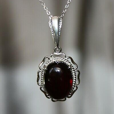 Unique Faceted Cherry Baltic Amber Pendant 925 Sterling Silver - Burgundy Color