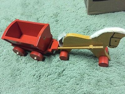 Vintage Wooden Horse and Wagon