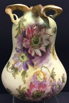 Beautiful Turn Teplitz Bohemia Vase Hand Painted Heavy Gold Floral~Austria