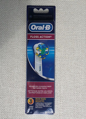 Braun Oral-B FLOSS ACTION Electric Toothbrush Replacement Brush Heads 3 Heads.