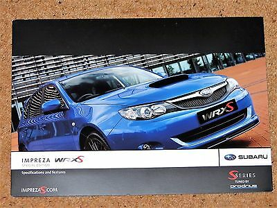 2008-09 SUBARU IMPREZA WRX S Specifications & Colours Brochure  - Mint Condition