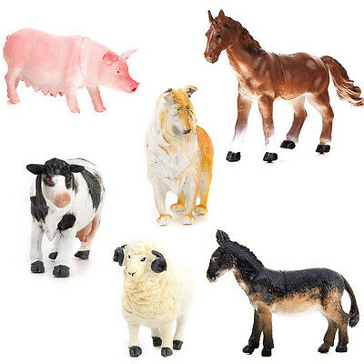 6x Big PVC Animal Toy Model Action Figures Farm Pig Dog Cow Sheep Horse Donkey
