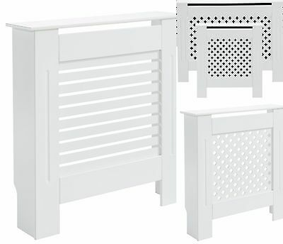 New White Radiator Cover Cabinet Painted Finish MDF Wood Traditional With Shelf