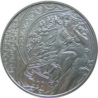 Czech Silver coin UNC 150th anniversary - Birth of painter Alfons Mucha 2010