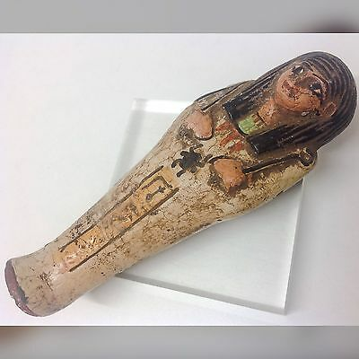 Rare Ancient Egyptain Ptolemaic Blue Faeince Ushabti Shabti 300-350 BC Large (2)