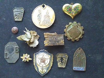 Lot of 11 old badges. Not silver.