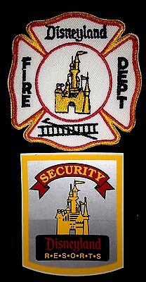 Disneyland Vintage Fire Department Patch And Security Reflective Bumper Sticker