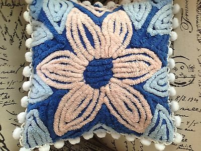 """Vintage Chenille Bedspread Pillow Dark Blue With Large Pink Flower 14"""""""